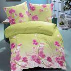 Спално бельо памучен сатен - Зелена Орхидея
