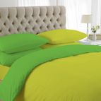 двуцветно спално бельо - жълто-зелено