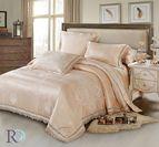 Луксозно спално бельо жакард и дантела Палома - светла прасковa