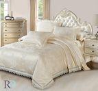Луксозно спално бельо жакард и дантела Палома - шампанско