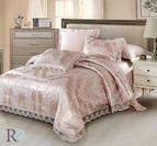 Луксозно спално бельо жакард и дантела Алекса - пудра