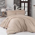 Луксозен спален комплект памучен сатен, жакард - DORYNA EKRU