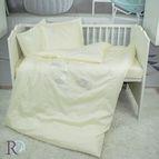 Бебешко спално бельо памучен сатен - Маймунки с бродерия екрю