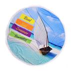 Плажна кърпа с ресни DF печат Ф150 - Лодка в рая