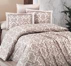Луксозен спален комплект памучен сатен Deluxe - CATRA EKRU