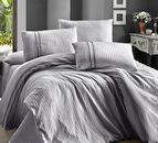 Луксозен спален комплект памучен сатен Deluxe - STRIPE STYLE GRI