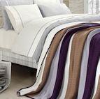 Спално бельо от 100% памук с плетено одеяло - BROWN STRIPES