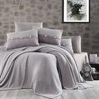 Чаршаф и калъфки 100% памук с плетено одеяло - GRAY STRIPS