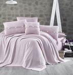 Чаршаф и калъфки 100% памук с плетено одеяло - PUDRA STRIPS