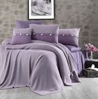 Чаршаф и калъфки 100% памук с плетено одеяло - PURPLE STRIPS