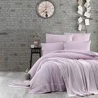 Спално бельо памук в комплект с плетено одеяло - LIGHT PURPLE