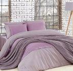 Спално бельо памук в комплект с плетено одеяло - LILA