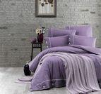 Спално бельо памук в комплект с плетено одеяло - PURPLE