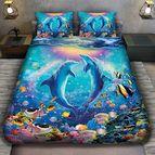 3Dспално бельо с животни - Двойка Делфини