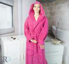 Халат за баня с качулка Моника - циклама