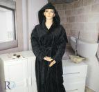 Халат за баня с качулка Моника - черно