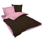 Двулицев спално бельо Ранфорс кафяво-розово