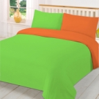 двуцветно спално бельо - зелено-оранж