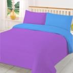 двуцветно спално бельо - лилаво-тюркоаз