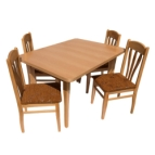 Трапезна маса правоъгълна АНИ + 4 стола ЛАЛЕ