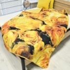 Олекотена завивка Двулицев микрофибър дв. вата Жълти рози - жълт