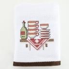 Кухненска кърпа с бродерия  КАФЯВИ ЧИНИИ