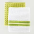 Комплект вафлени кърпи Лайн / Скуеър 2 бр. ЗЕЛЕН