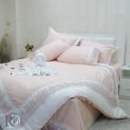 Двоен спален комплект с дантела Сиси - праскова бяло