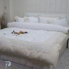 Двоен спален комплект с дантела Сиси - бяло шампанско
