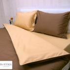 Спално бельо памучен сатен - светло кафяво и охра