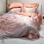 Луксозен спален комплект с жакард - Фиоре праскова