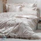 Луксозен спален комплект с жакард и бродерия Рона - бежова