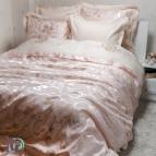 Луксозен спален комплект с жакард и бродерия - Рона праскова