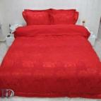 Луксозен спален комплект с жакард и бродерия Рона - червена