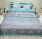 Луксозен спален комплект с жакард и бродерия Рона - тюркоаз