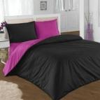 Двулицево спално бельо - черно/розово