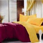 Двулицево спално бельо - бордо/патешко жълто