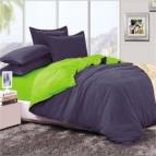 Двулицево спално бельо - тъмно синьо/зелено