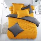Двулицево спално бельо - патешко жълто/графит