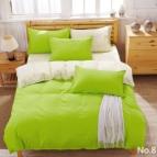 Двулицево спално бельо - зелено/екрю