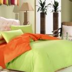 Двулицево спално бельо - лайм/оранж