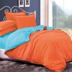 Двулицево спално бельо - оранж/светло синьо
