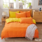 Двулицево спално бельо - оранж/жълто