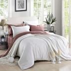 Двулицево спално бельо сатен - бяло/пепел от рози