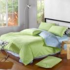 Двулицево спално бельо сатен - нежно зелено/светло синьо