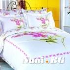 Семеен спален комплект Букет-бял