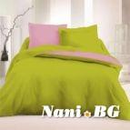 Спално бельо Ранфорс Зелен - Розов