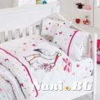 Бебешко спално бельо - Щъркел-розов
