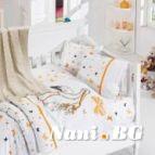 Бебешко спално бельо-Бамбук и одеяло - Щъркел оранж