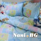 Бебешки к-т с олекотена завивка Мече с цигулак в синьо